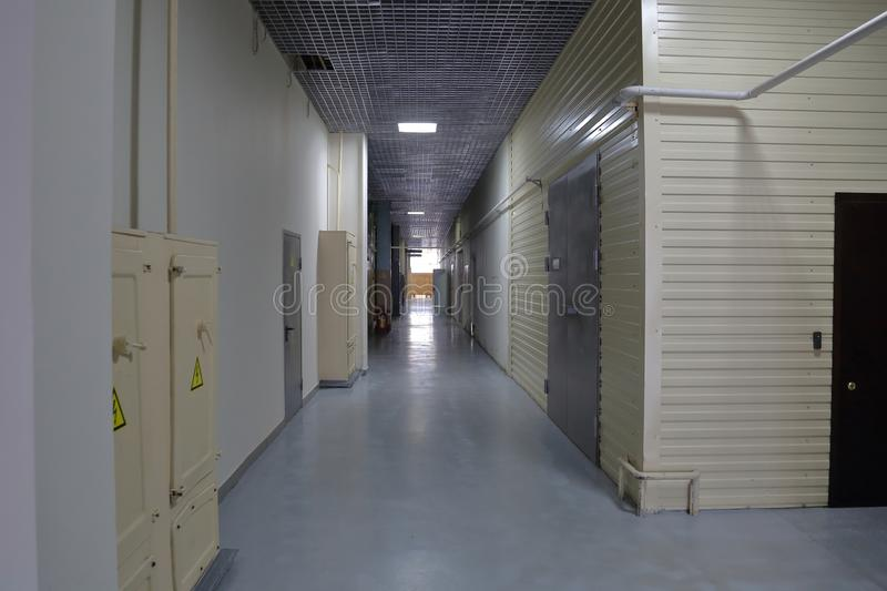 Corridor in an industrial premises. Office corridor in modern industrial production area royalty free stock photography
