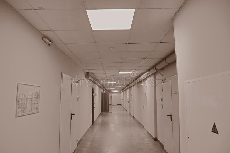Corridor in an industrial premises. Office corridor in modern industrial production area royalty free stock photo