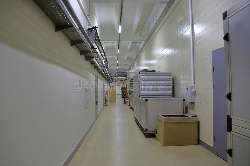 Corridor in an industrial premises. Office corridor in modern industrial production area stock photography