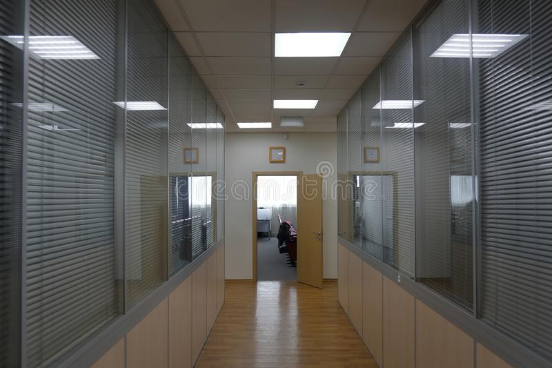 Corridor in an industrial premises. Office corridor in modern industrial production area royalty free stock image