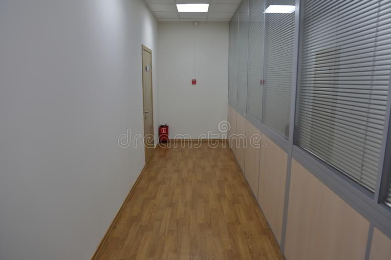 Corridor in an industrial premises. Office corridor in modern industrial production area royalty free stock images