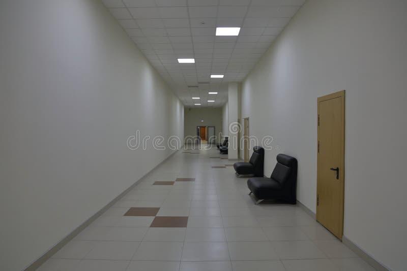 Corridor in an industrial premises. Office corridor in modern industrial production area stock photos