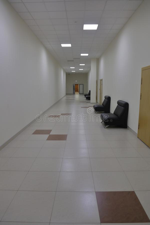 Corridor in an industrial premises. Office corridor in modern industrial production area royalty free stock photos
