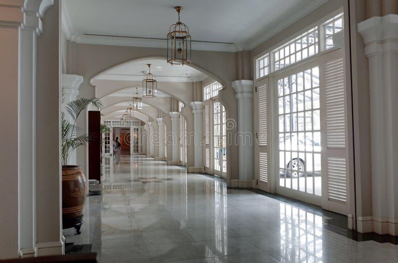 Corridor Interior. At Eastern & Oriental Hotel, Georgetown, Penang, Malaysia stock photos
