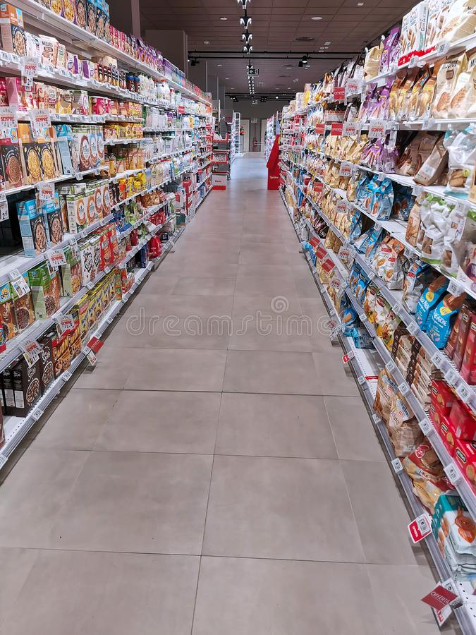 Corridor of a italian supermarket stock photography
