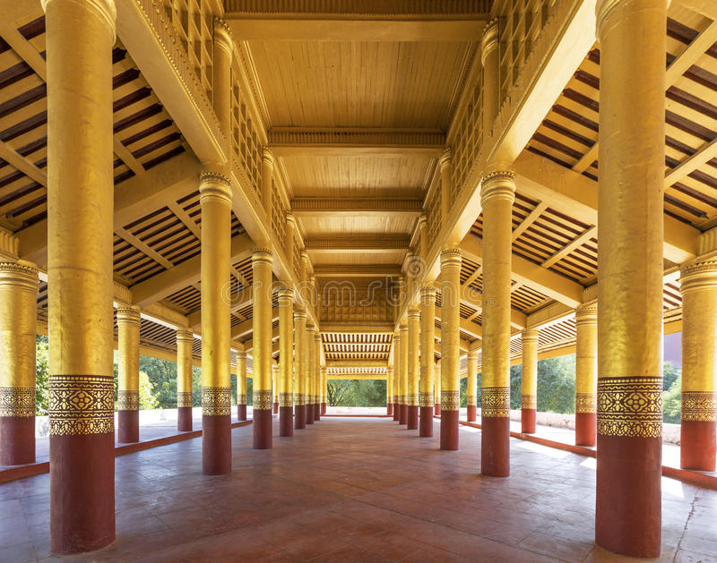 Corridor in Mandalay Palace. Wide view stock images