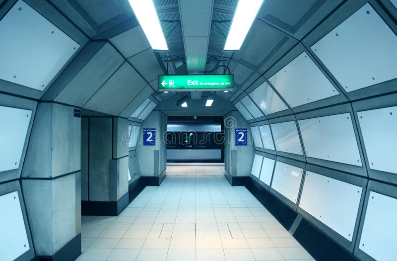 Corridor in the metro. Wagon train arrived at the subway platform royalty free stock photography