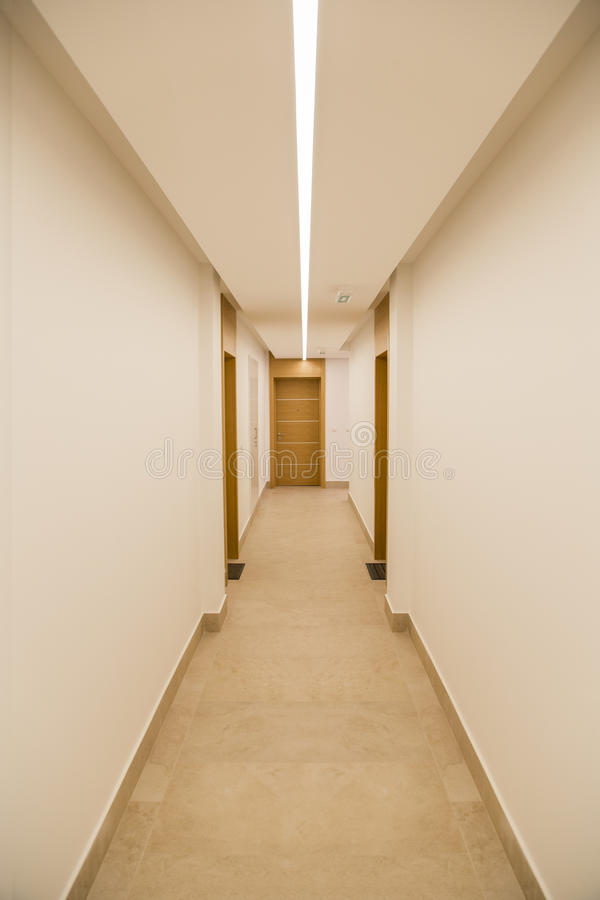 Corridor in modern building. Corridor in a modern building royalty free stock photography