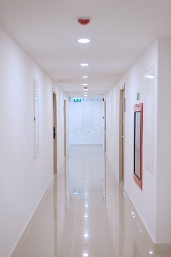 Corridor of modern condominium with safety equipment royalty free stock photo