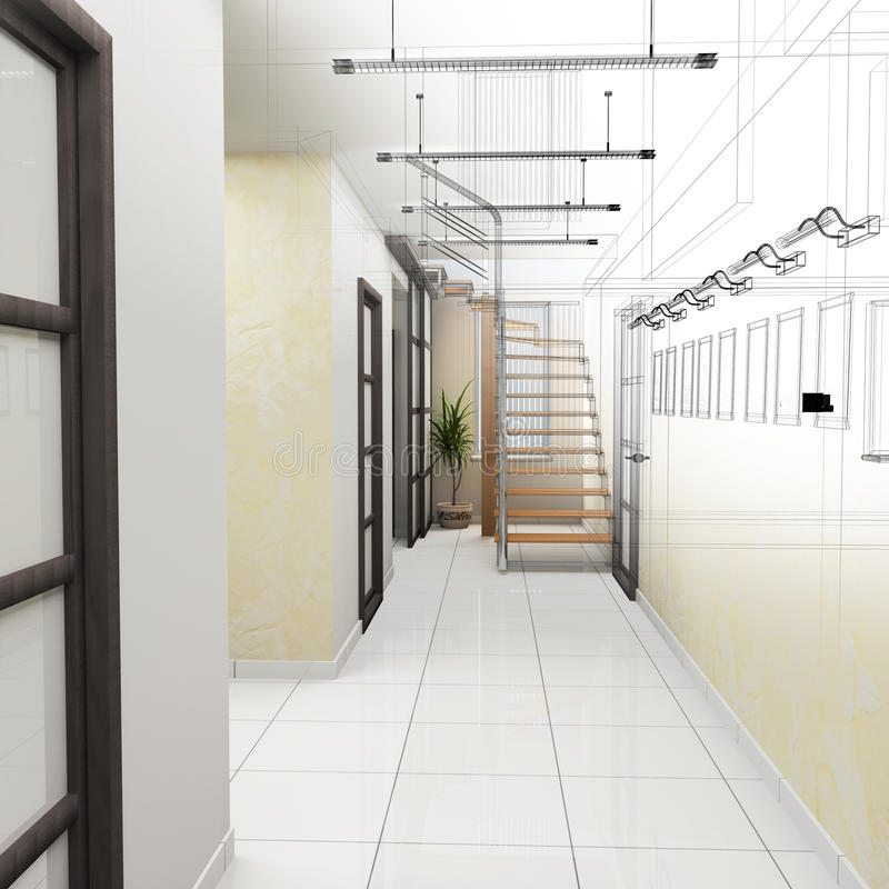 Corridor in modern office royalty free illustration