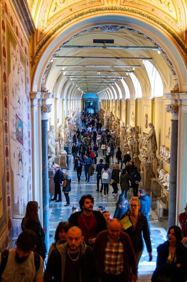 Corridor of Museum Chiaramonti with marble busts, sculptures, classical hall interior design elements in Vatican museums in Rome, stock images
