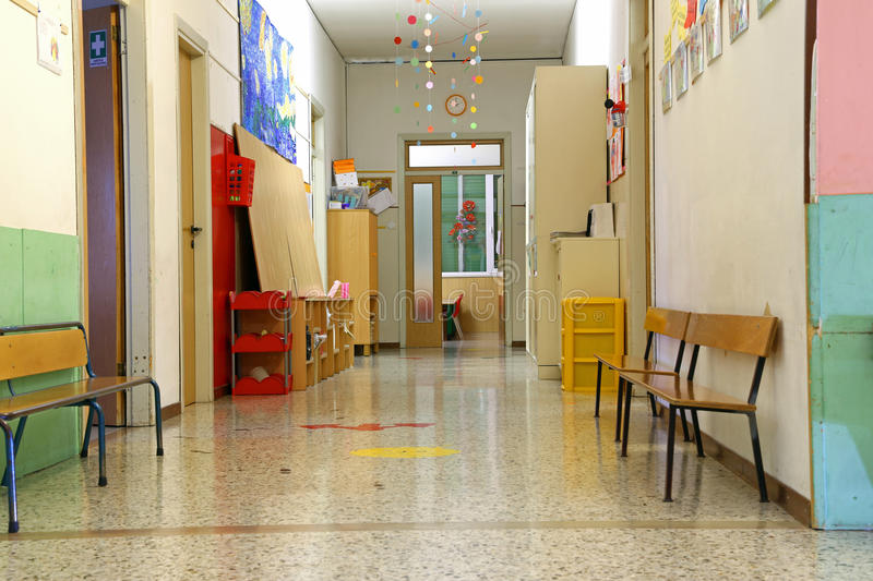 corridor of a nursery school during the holidays without children stock image