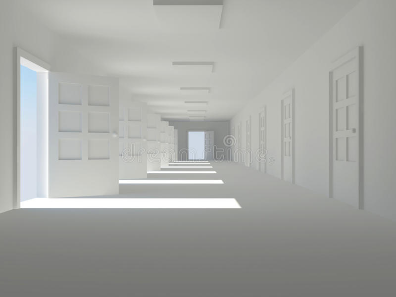 Download Corridor with open doors stock illustration. Image of door - 12790291