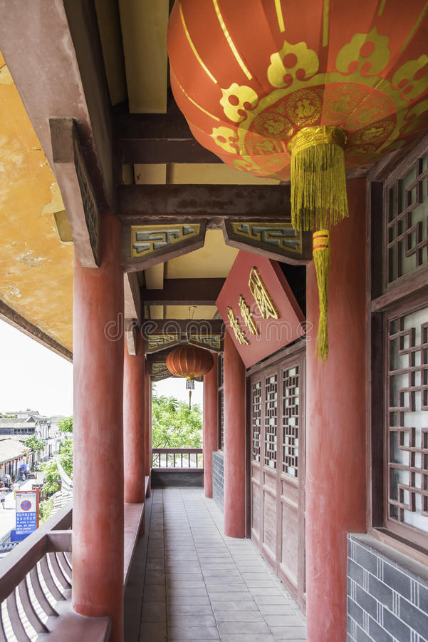 The corridor outside Wangyue Tower (Moon Tower) royalty free stock images