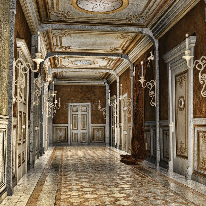 Corridor in a palace. Ornamented corridor in a fantasy palace vector illustration