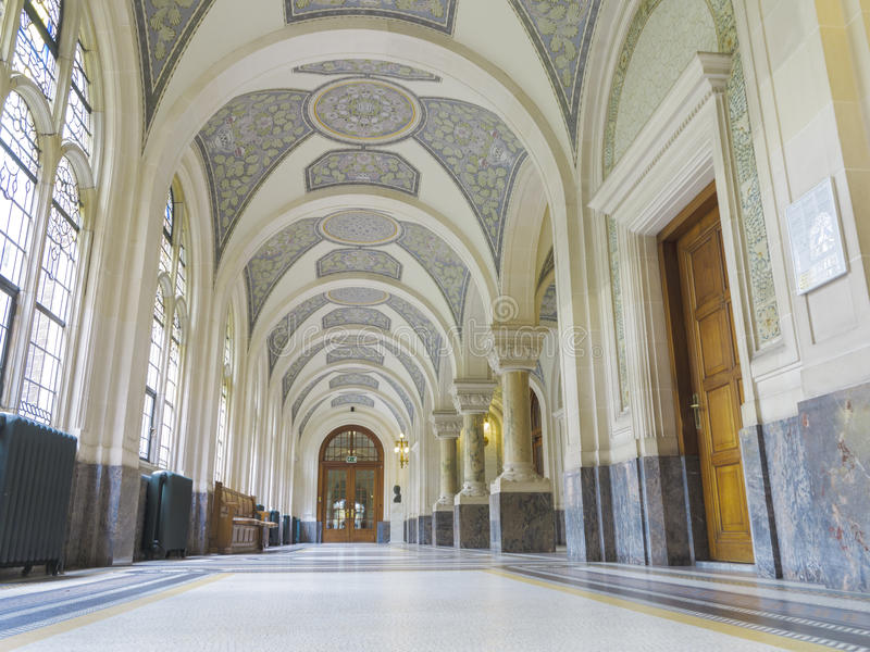 Corridor of the Peace Palace, The Hague. Corridor of the Peace Palace heading to the Court Room stock photo