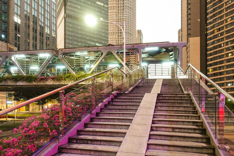 Corridor pedestrian bridge   modern  city royalty free stock image