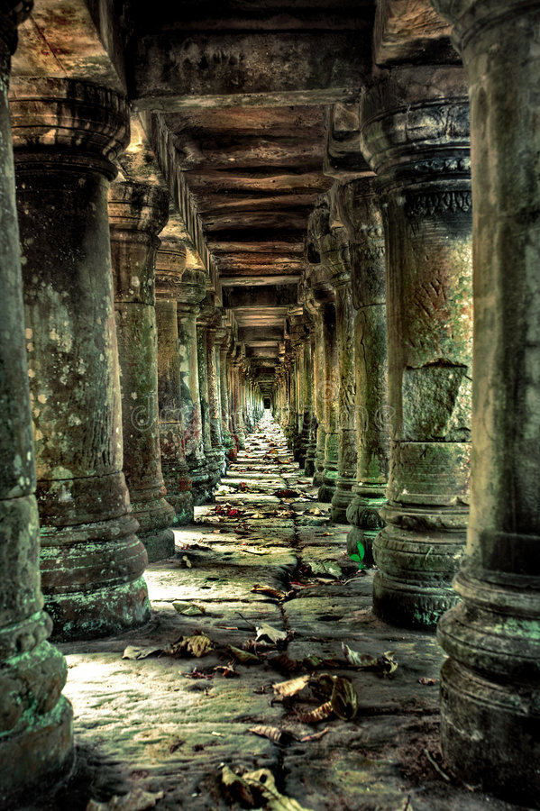 Corridor of pillars royalty free stock images