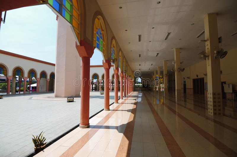 Corridor of Putra Nilai Mosque in Nilai, Negeri Sembilan, Malaysia. Negeri Sembilan, Malaysia – March 06, 2014: Putra Nilai Mosque was located at Nilai stock photos