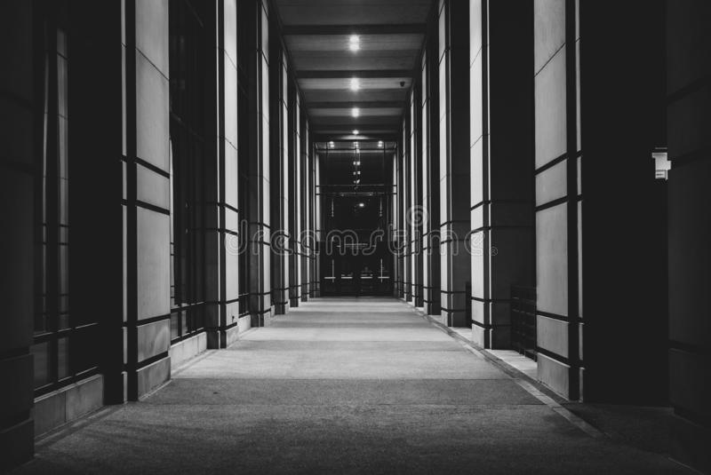 A corridor at Robert D. Orr Plaza at night, in Indianapolis, Indiana.  royalty free stock photo