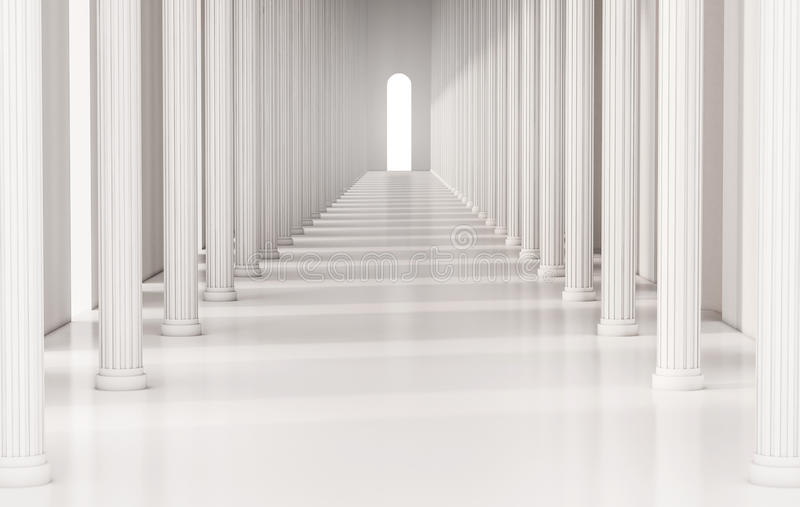 Corridor with roman pillars and bright light at the exit, 3d rendered royalty free illustration