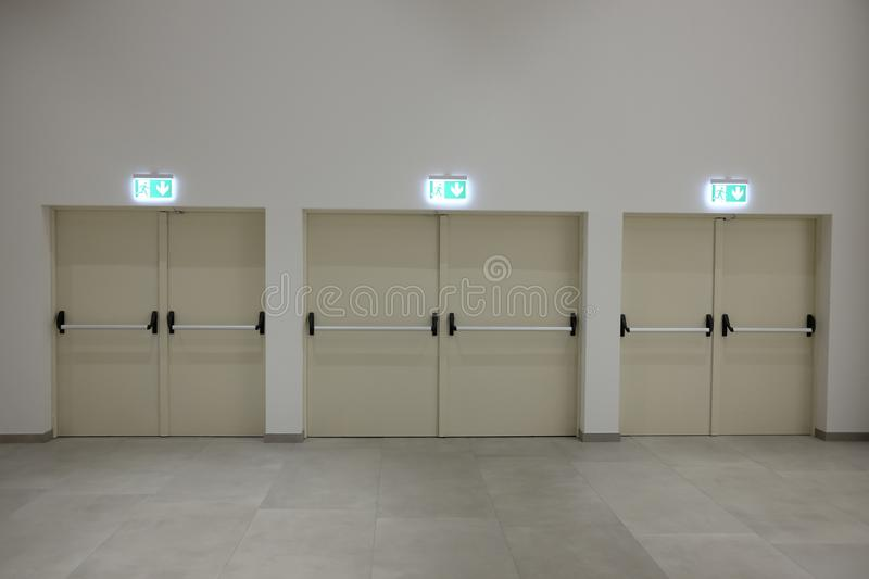 Corridor with safety exits. White royalty free stock photos
