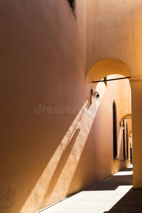 Corridor on the side of the Hisar Mosque/ mosque courtyard, Yâkub Bey Mosque, Molla Yakup Mosque, Kemeralti, Izmir, Izmir Provin. Ce, Aegean Region. September stock photos