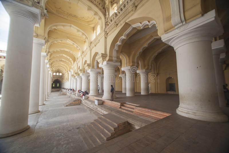 Corridor at Thirumalai Nayak Palace stock photo