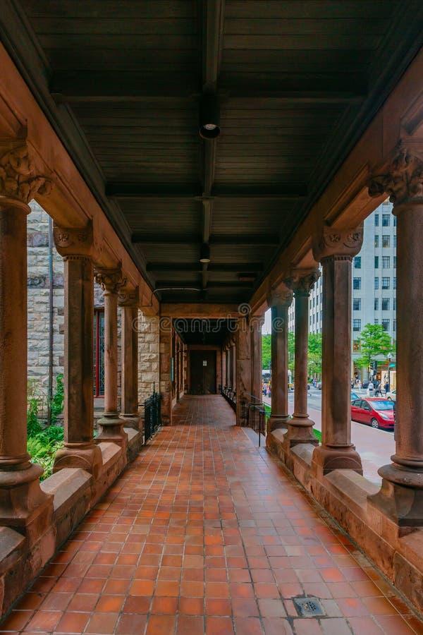 Corridor of Trinity Church in Copley Square in Boston, USA royalty free stock photo