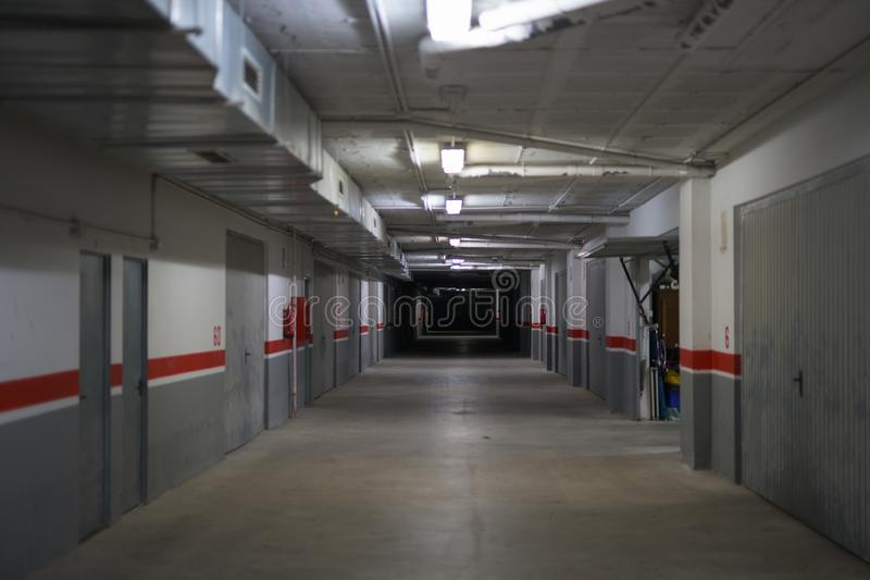 Corridor Of Underground Storage Warehouse And Parking Facility royalty free stock image