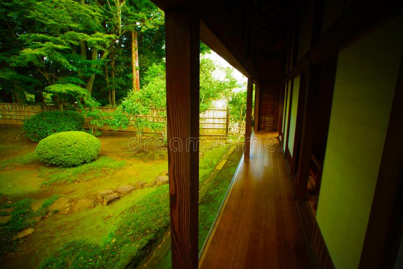 Corridor of the Yoshifumi bower. Shooting location : Tskuba-city, Ibaraki-pref royalty free stock photography