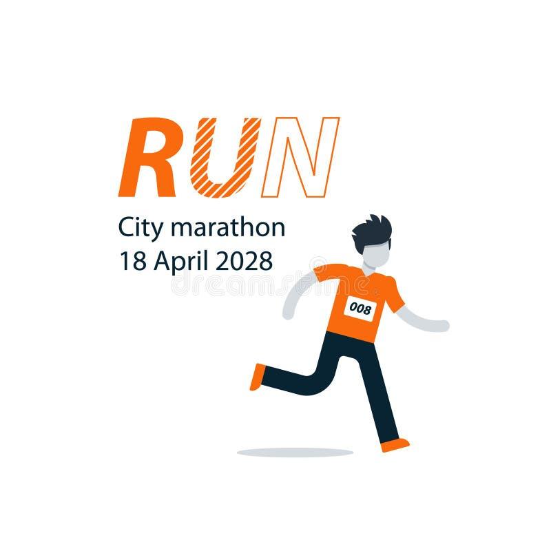 Corridore con il numero sul petto, pubblicità maratona della città royalty illustrazione gratis