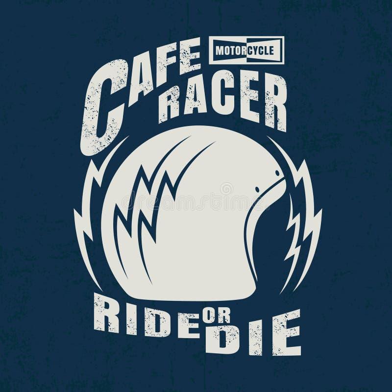 Corridore del caffè tipografico con il grafico del casco per la maglietta illustrazione vettoriale