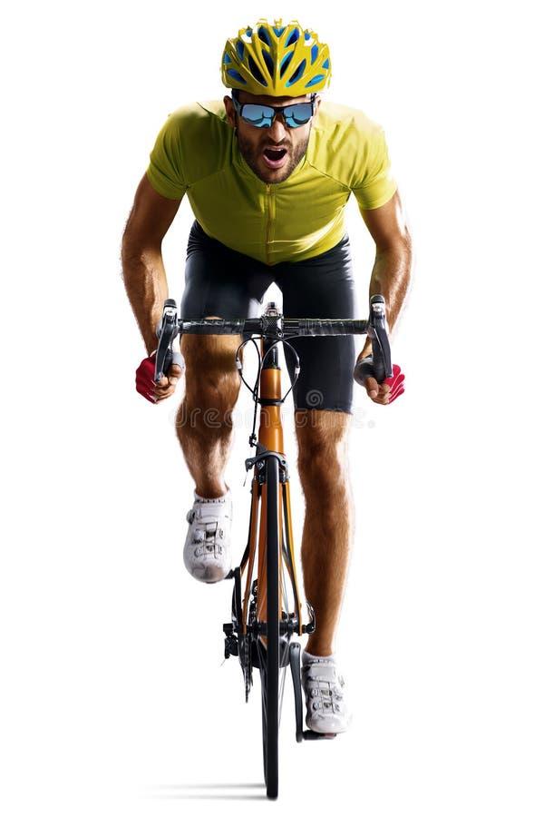 Corridore della bicicletta della strada di Professinal isolato nel moto su bianco immagini stock