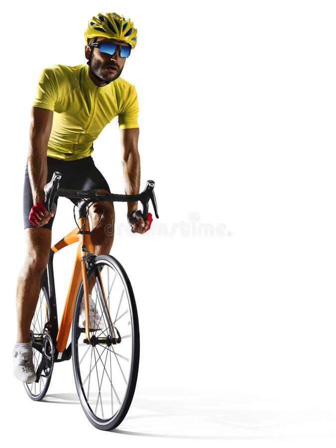 Corridore della bicicletta della strada di Professinal isolato su bianco fotografie stock libere da diritti