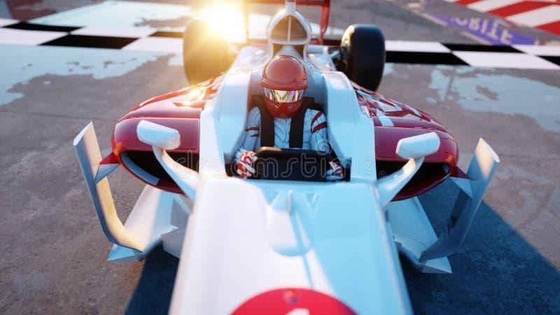 Corridore della formula 1 in una vettura da corsa Concetto di motivazione e della corsa Tramonto di Wonderfull rappresentazione 3 illustrazione di stock