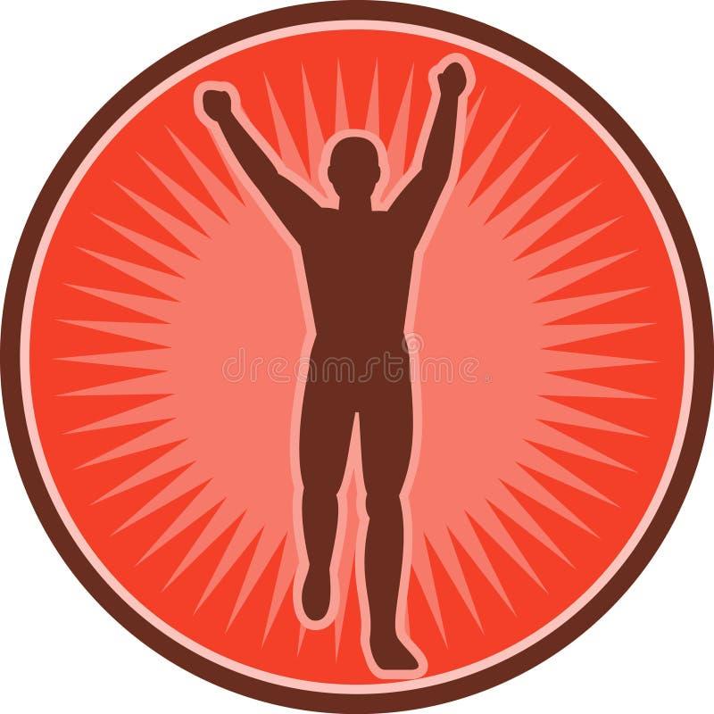 Corridore Di Maratona Che Celebra Vittoria Immagini Stock Libere da Diritti