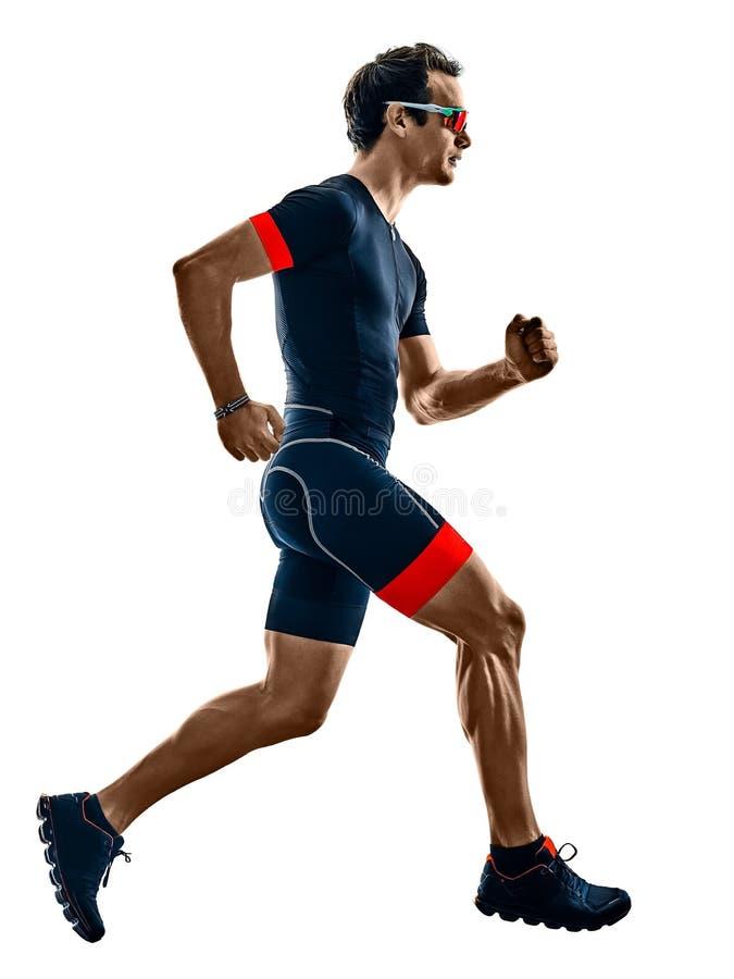 Corridore di triathlon di Triathlete che esegue b bianca isolata siluetta immagine stock