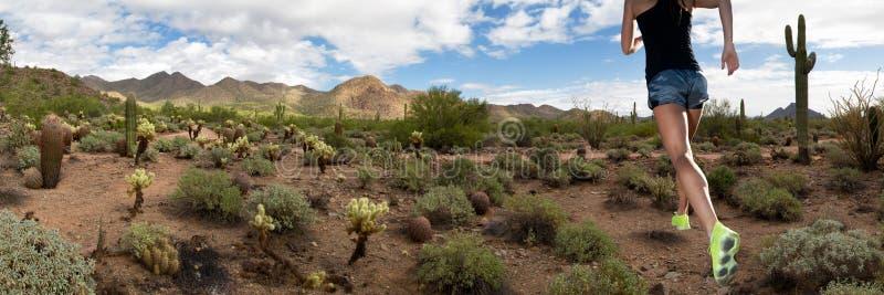 Corridore femminile di forma fisica della traccia di montagna del deserto immagine stock libera da diritti