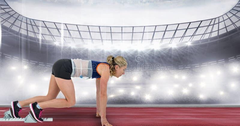 Corridore femminile di sport nella posizione di partenza illustrazione di stock