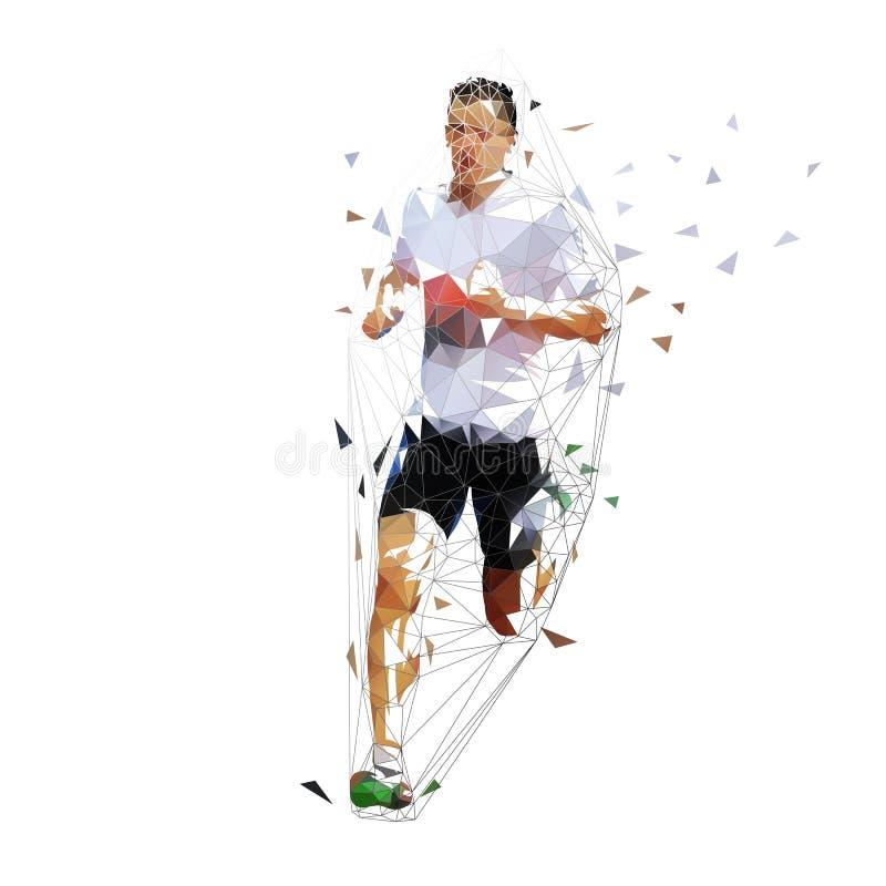 Corridore, illustrazione poligonale bassa di vettore Sprinter geometrico, vista frontale Uomo corrente adulto illustrazione vettoriale