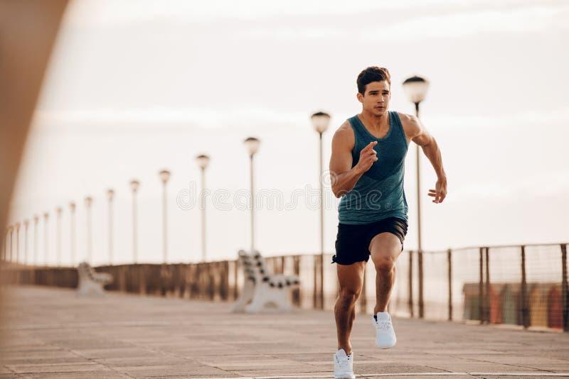 Corridore maschio che sprinta all'aperto nella mattina fotografia stock libera da diritti