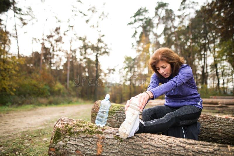 Corridore senior che si siede sui ceppi di legno, allungando, acqua potabile immagine stock