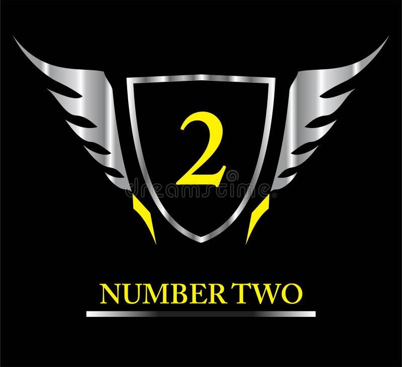 Corridore su, 2, numero 2, numero due sullo schermo, schermo alato metallico royalty illustrazione gratis