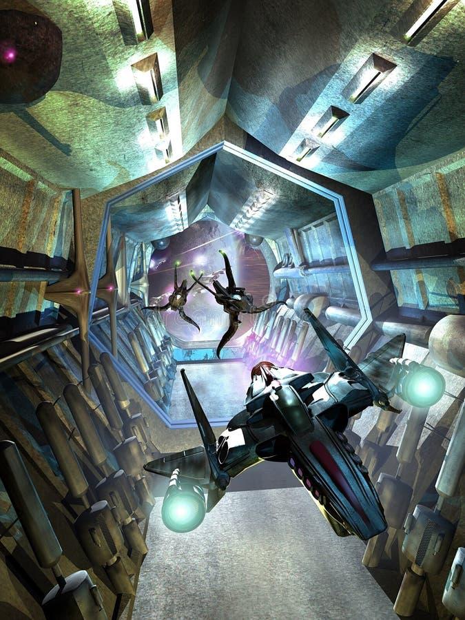 Corridors battle vector illustration