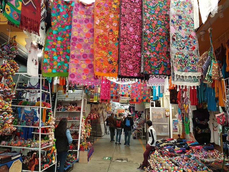 Handicraft Market La Ciudadela, Mexico city. Corridors full of handmade souvenirs for tourists royalty free stock photo