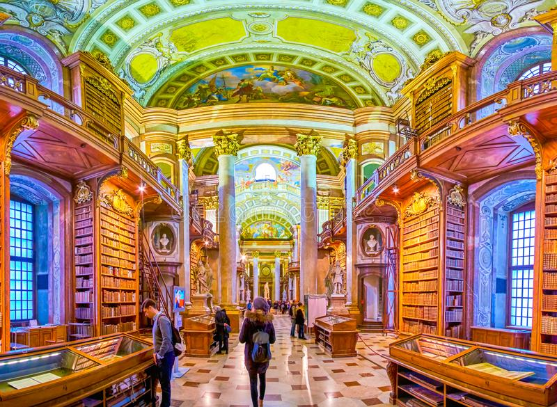 The corridors of National Library in Vienna, Austria royalty free stock photography