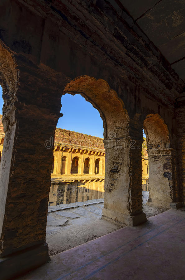 Corridors of a stepwell / baori, situated in an unknown village. Of Rajasthan, India stock photography