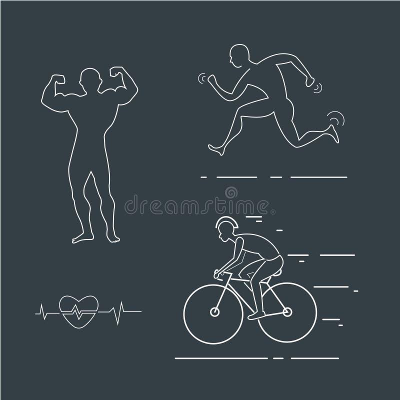 Corriendo, icono linear del hombre de la bici Línea ejemplo fina stock de ilustración