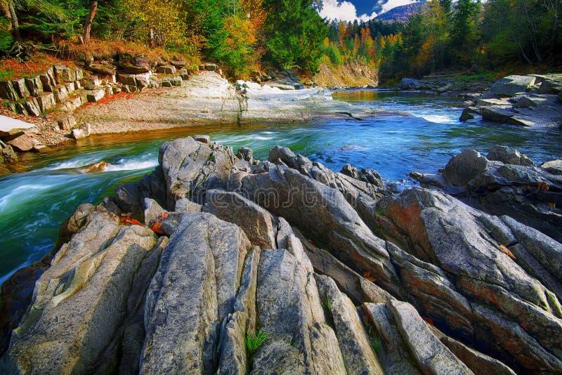 Corriente fluído del río de la montaña del agua en las rocas en el autu fotos de archivo libres de regalías